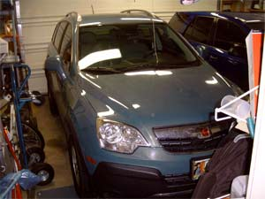 my new 2008 Saturn VUE snugly tucked away in our garage